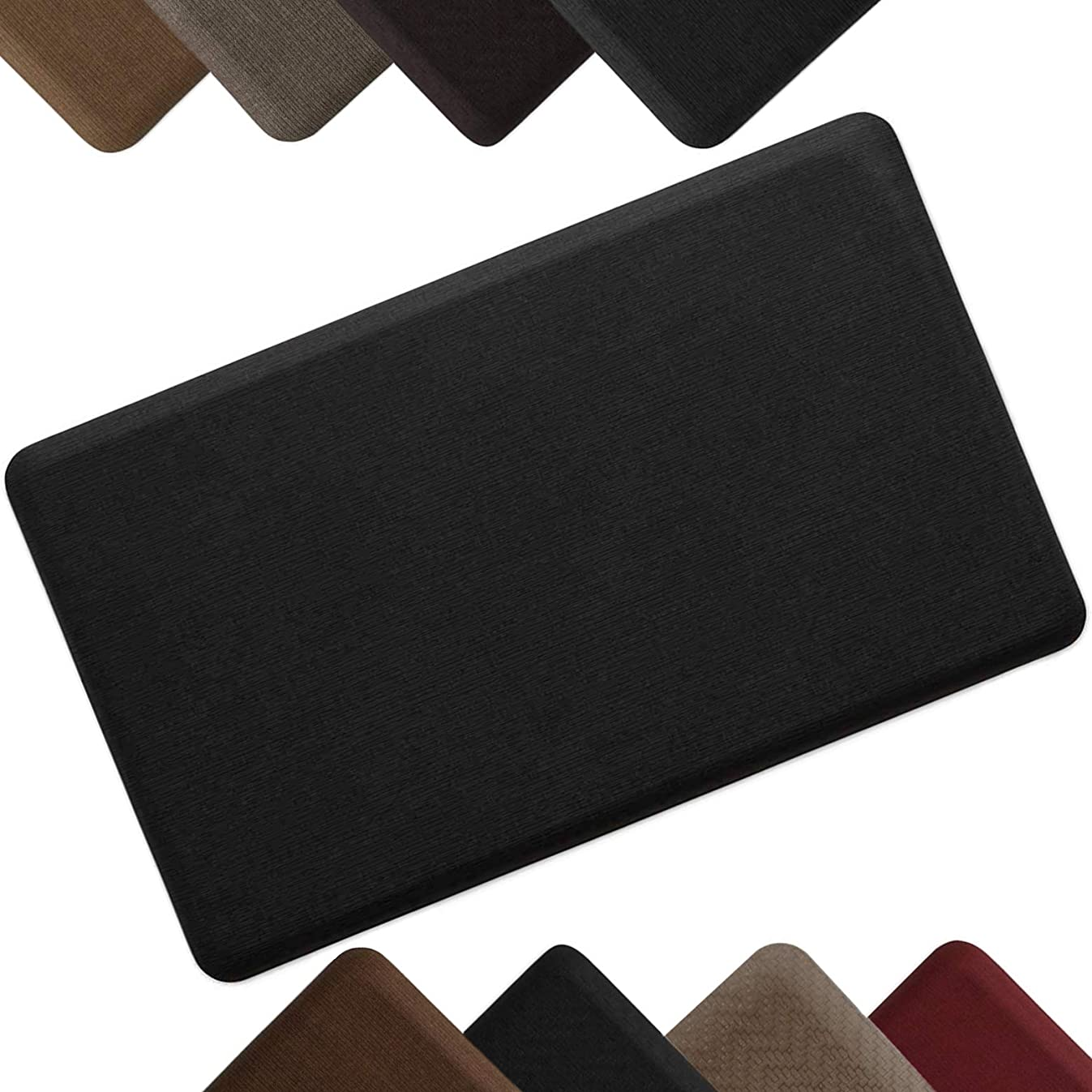 "NewLife by GelPro Anti-Fatigue Designer Comfort Kitchen Floor Mat Stain Resistant Surface with 5/8"" thick ergo-foam core for health and wellness,18x30 Grasscloth Charcoal"