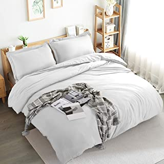Edilly 3 Pieces Washed Duvet Cover Set White Queen Size Ultra Soft Double Brushed Microfiber Hotel Collection Luxurious Comforter Covers with Zipper Closure, 1 Duvet Cover and 2 Pillow Shams