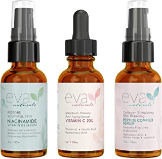 Eva Naturals Firm and Glow Skincare Bundle - Includes Peptide Complex Serum, Vitamin B3 5% Niacinamide Serum and 20% Vitamin C Serum - Brighten the Complexion and Restore Firmness to Skin