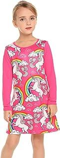 Áo quần dành cho bé gái – Toddler Girls Unicorn Mermaid Dress Long Sleeve Cotton Casual T-Shirt Dresses