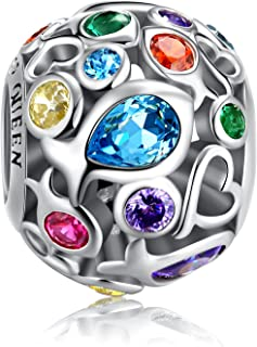 FOREVER QUEEN Rainbow Charm for Charm Bracelet, 925 Sterling Silver Openwork Beads Colorful Bead Charm with Skin-Friendly Fish Cubic Zircon Stone Perfect for Bracelet Necklace FQ0001
