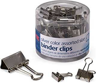 Officemate Silver Binder Clips, Assorted Sizes, 30/Tub (31021)