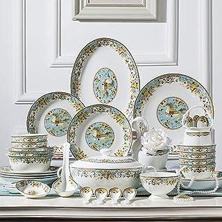 أدوات المائدة الفخارية، مجموعات أواني الطعام لـ 12، مجموعات أطباق وأوعية فاخرة، مجموعة عشاء من السيراميك، طقم أطباق 58 قطع...