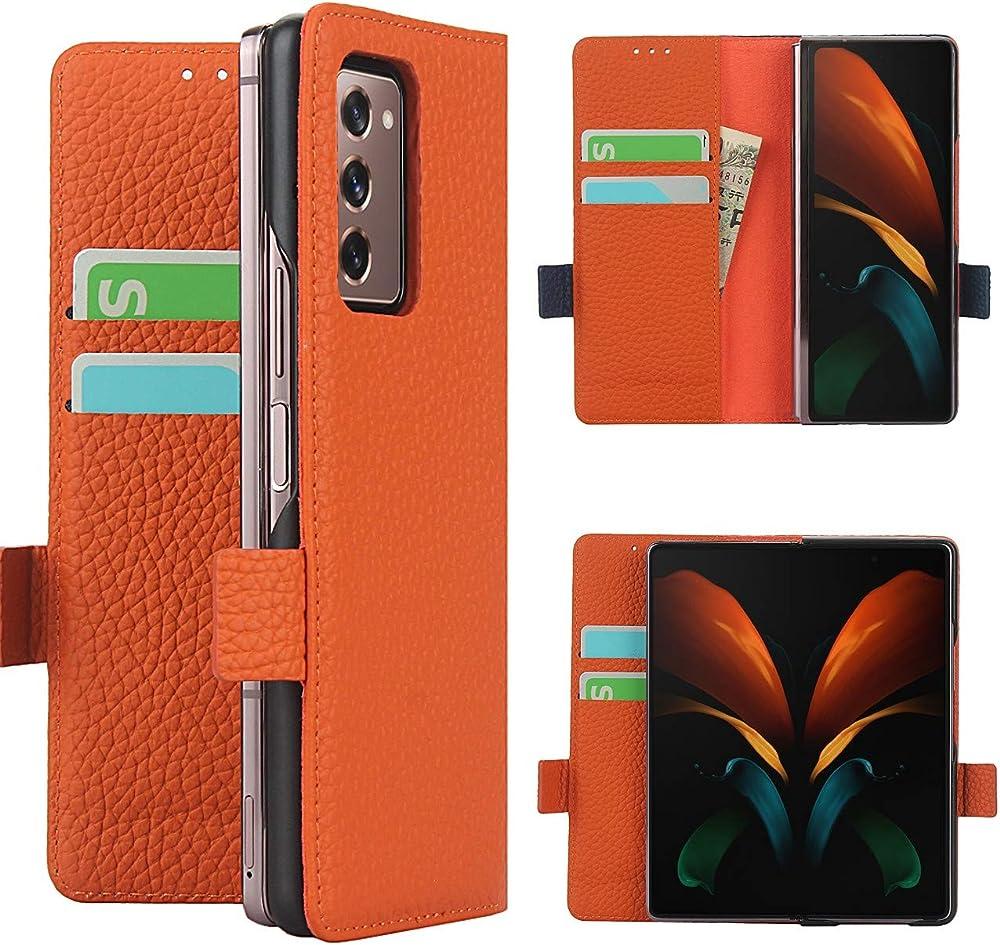 Copmob cover samsung galaxy z fold2 5g flip portafoglio porta carte di credito in pelle A - Arancia