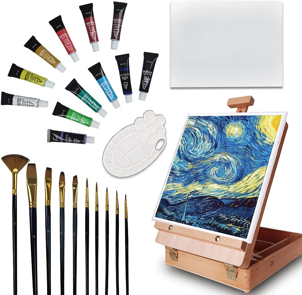 VOCHIC Tabletop Art Easel Set Product Max 56% OFF for Colors 12 Painting Ac Canvases