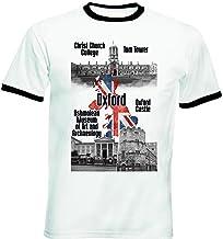 teesquare1st United Kingdom Oxford Tshirt de Hombre con Bordes Negros T-Shirt