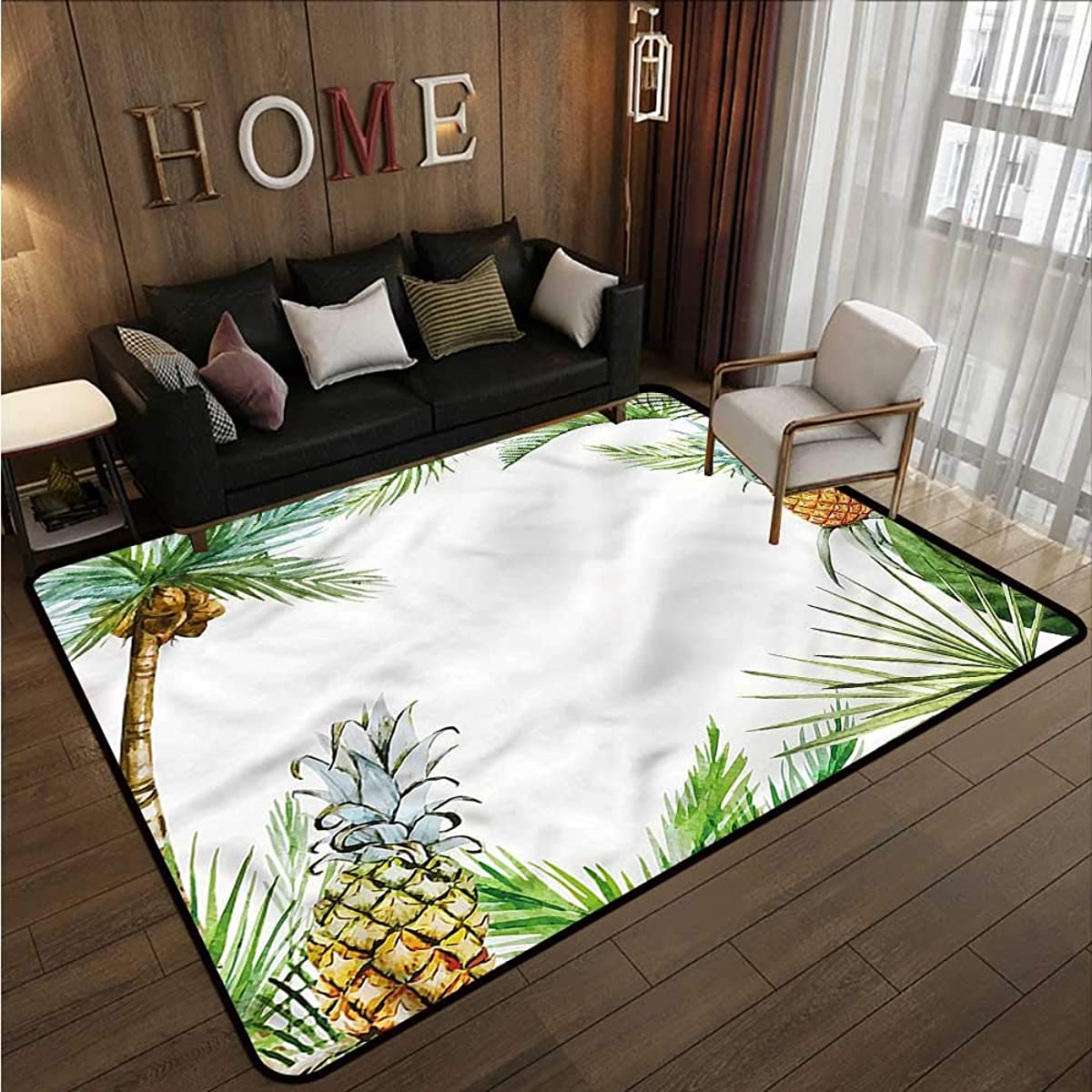 Collection Area Rug Pineapple Exotic Palm Trees Anti-Static, Water-Repellent Rugs 5'6