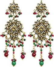 Faux-Ruby and Emerald Kundan Earrings - Copper Alloy