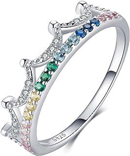 Qings Anillo Corona de Plata de Ley 925, Anillo de Compromiso con Colorido Circonita Cúbica Regalos de Joyería para Mujere...