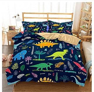per bambini Set copripiumino con motivo a dinosauro formato A1,135 x 200 cm Newat 2020 con stampa di animali motivo animale