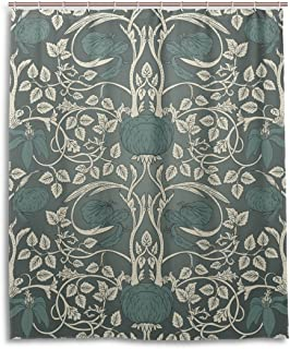BAIHUISHOP William Morris Pattern Bathroom Shower Curtain 60 x 72 Inches With 12 Hooks Mildew Proof Polyester Fabric