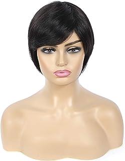 BoB Wigs with Bangs Pixie Cut BoB Wigs 100% Human Hair Brazilian Short Bob Wigs For Woman Straight None Lace wig with Bang...