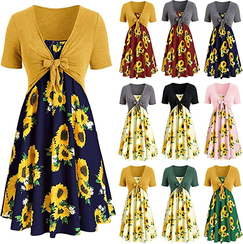 ORT Dresse for Women,Womens Casual Dresses Bow Knot Bandage Mini Dress Floral Printed Swing Dress Short Sleeve Sundress