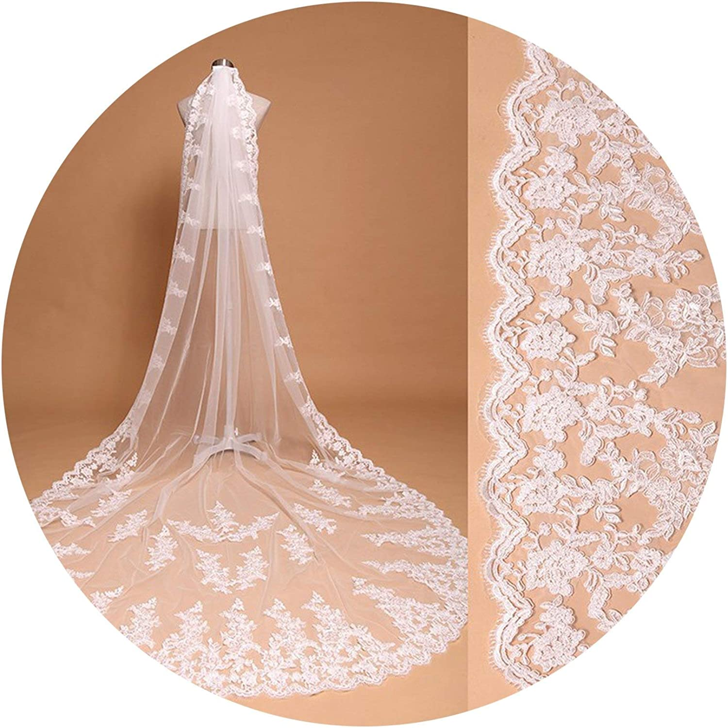 Wedding Veils Long Lace Edge Bridal Veil with Comb Wedding Accessories Bride Wedding Veil,Ivory