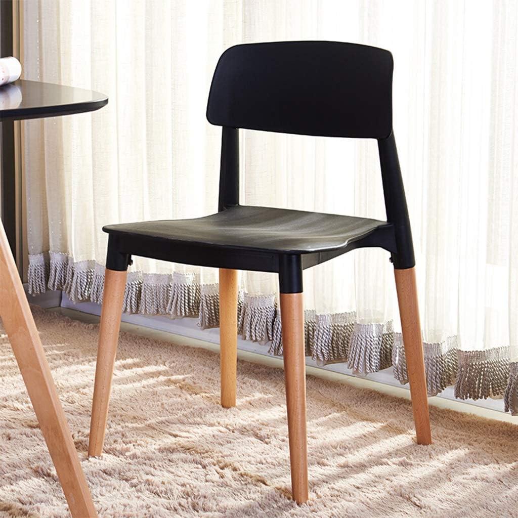 LXQGR Chaise de salle à manger Jambes en bois massif naturel avec coussins rembourrés Designer contemporain pour salon de bureau Cuisine de salle à manger (Color : White) Black