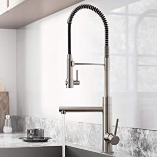 Kraus Atrec Pro Steel Finish 2-Function Commercial Style Pre-Rinse Kitchen Faucet with Pull-Down Spring Spout and Pot Filler, 24.75 Inch, KPF-1603SFS Spot Free Stainless