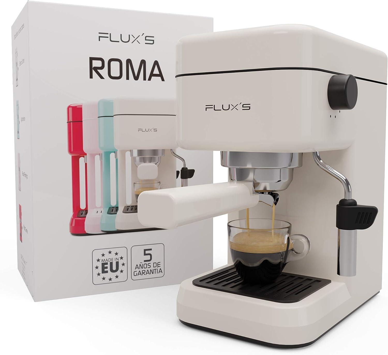 Flux's Roma – Cafetera Express con Espumador de Leche y Bomba Italiana de 20 Bares, Brazo Portafiltros con Doble Salida y Dos Filtros, para Espresso y Cappucino, Fabricada en Europa. (Crema)