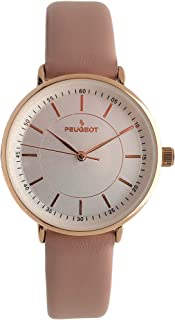 Peugeot Women's Modern Super Slim Watch, Sleek 14K Rose Gold Plated Dress & Evening Watch with Leather Strap
