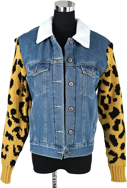 Eryron Women's Winter Jeans Double Pocket Leopard bluee Denim Jacket