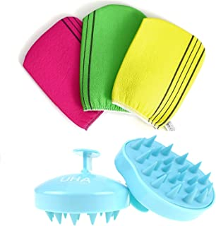 Korean Exfoliating Bath Washcloth 3 pcs with Hair Washing Brush, Hair Comb and Body Scalp Massager for Hair SPA Treatment,...