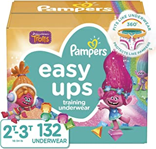 Pampers Easy Ups Pull On Disposable Potty Training Underwear for Girls and Boys, Size 4 (2T-3T), 132 Count, Enormous Pack (Packaging May Vary)