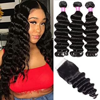 Symorain Brazilian Loose Deep Wave Bundles with Closure 9A Virgin Hair Wet and Wavy Loose Deep Curly 100% Human Hair 3 Bundles with Swiss Lace Closure Hair Extensions Natural Color (12 14 16+10)