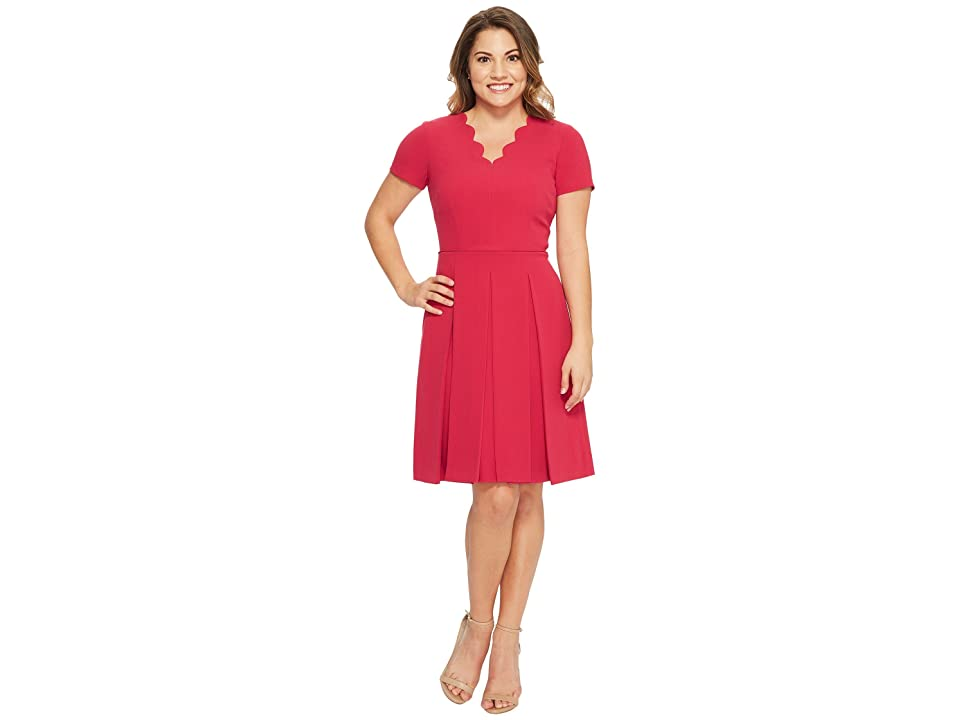 Tahari by ASL Petite Scallop Fit and Flare Dress (Raspberry) Women