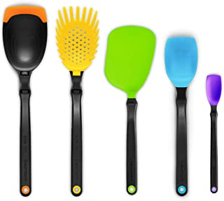 Dreamfarm Set of the Best - Essential Kitchen Tool Collection - Includes Spadle, Holey Spadle, Chopula, Supoon and Mini Supoon (Assorted Colors)