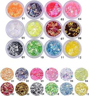 Minejin Nail Art Glitter Foil Slice Glass Broken Piece Stickers Decoration Decal Tips 12 colors