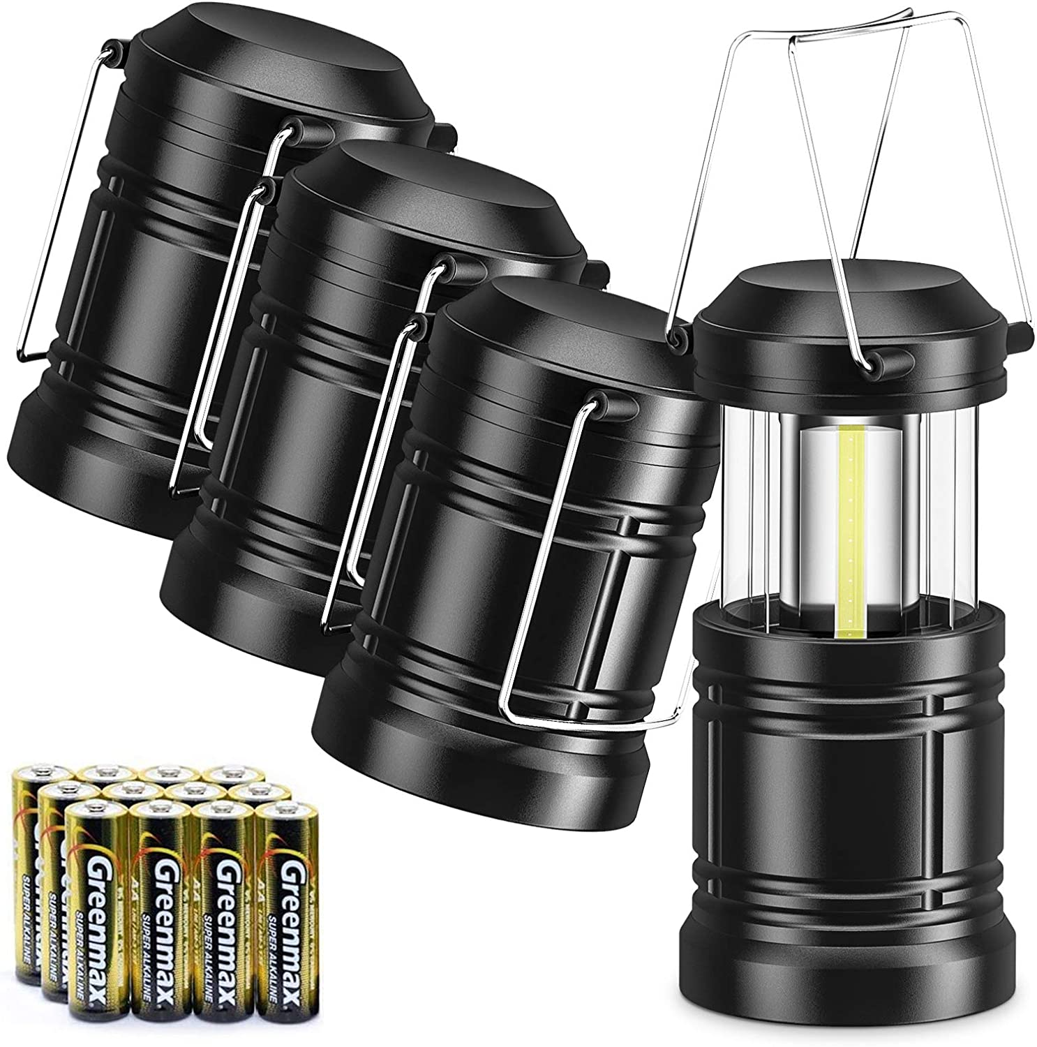 WdtPro Manufacturer OFFicial shop 4 Pack LED Max 62% OFF Camping Lantern 12 Batteries Powerful with AA