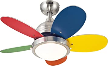 Westinghouse Lighting 7247500 Downrod Mount, 5 multi-color Blades Ceiling fan with 39 watts light, Brushed Nickel