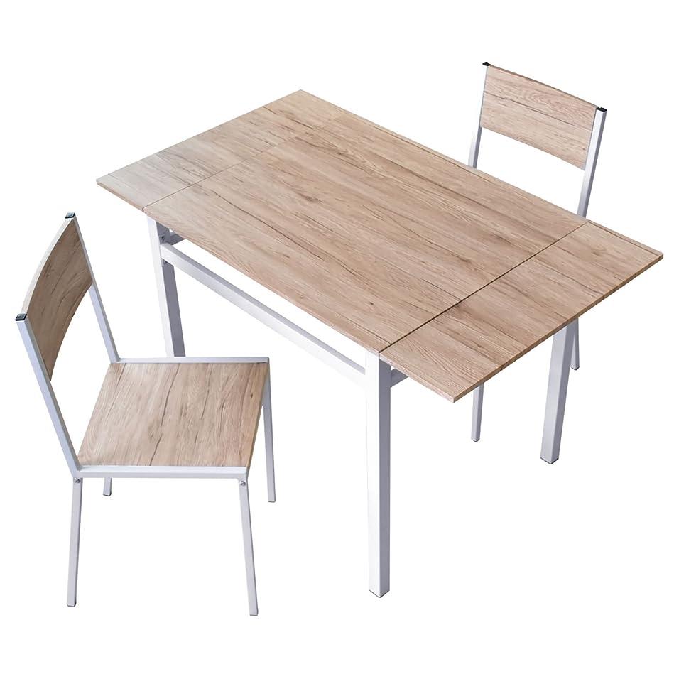 ピンチ名前で桁DORIS ダイニングテーブル 2人用 ダイニングセット 3点セット 伸長式 幅80~120 2人掛け フレイヤ ナチュラル