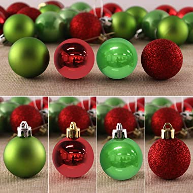 24Pcs Christmas Balls Ornaments for Xmas Tree - Shatterproof Christmas Tree Decorations Large Hanging Ball Red & Green 2.
