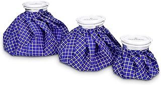 Navaris Set 3x poche de glace - Sac de chaleur et de froid réutilisable - Vessie de glace 3 tailles - bleu et blanc