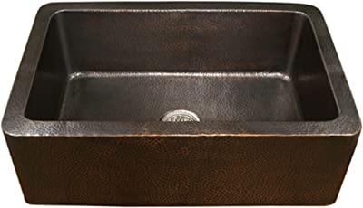Houzer HW-COP11 Hammerwerks Series Apron Front Farmhouse Copper Single Bowl Kitchen Sink, Antique Copper