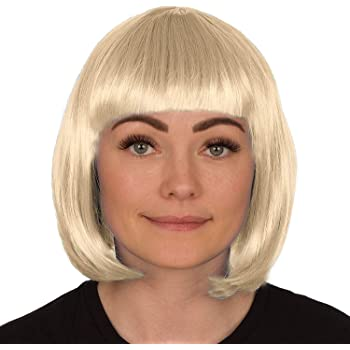 Babe Wig Bob Short Fancy Dress Ladies Costume Accessory White Fringe Blonde