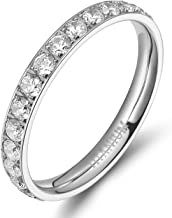 TIGRADE 3mm Women Titanium Engagement Ring Cubic Zirconia Eternity Wedding Band Size 3 to 13.5