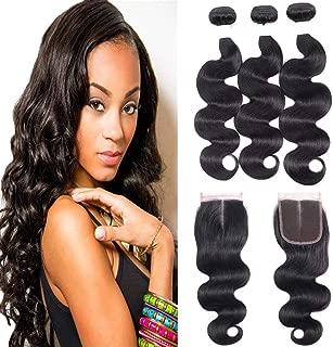 Brazilian Body Wave 3 Bundles with Closure (10 12 14+8 closure, Middle Part)8A 100% Unprocessed Virgin Hair Human Hair Middle Part Lace Closure Hair Extension Natural Color