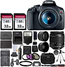Canon EOS Rebel T7 Digital SLR Camera with EF-S 18-55mm f/3.5-5.6 is STM Lens + 64GB Memory Card + Wide Angle and Telephot...