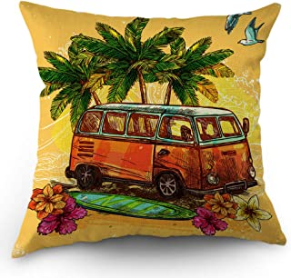 Moslion Beach Pillows Decorative Throw Pillow Cover Hippie Vintage Bus with Surfboard Holiday Ocean Pillow Case 18x18 Inch Cotton Linen Square Cushion Cover for Sofa Bedroom Yellow