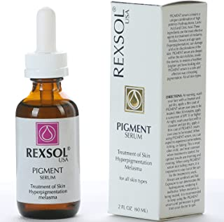 REXSOL Pigment Serum Treatment of Hyper-pigmentation   The most effective ingredients for treatment of Melasma, Freckles, Brown & Age Spots, Sun Damage & Acne discoloration of the skin - 2 oz