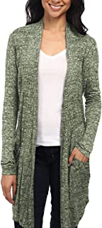 Womens Lightweight Casual Open Front Drape Long Cardigan with Pockets for All Season