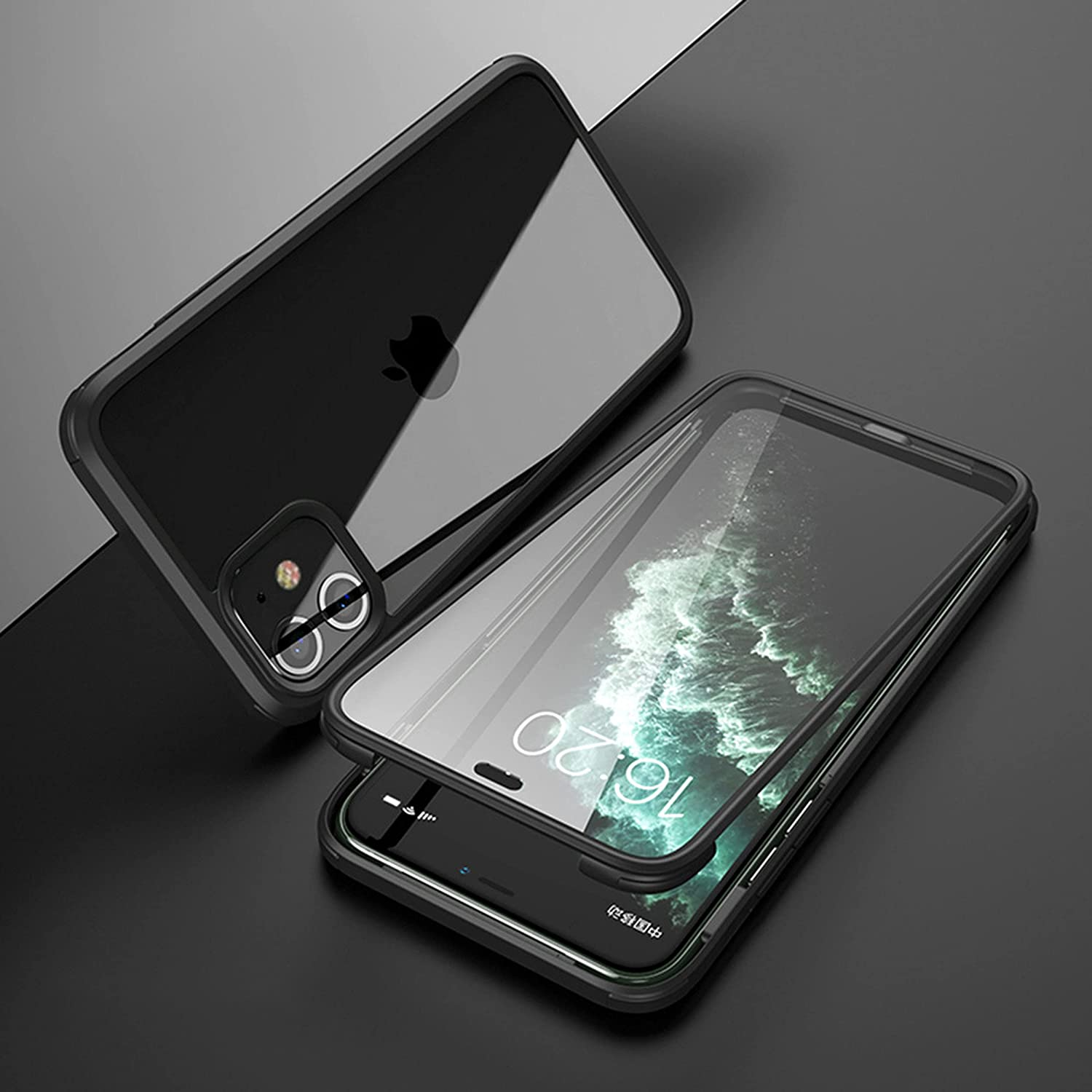 TPU & Tempered Glass Film Phone Case Compatible with iPhone 13/13Pro/13Pro Max/13Mini Double-Sided Glass Wireless Charging Phone Shell, Back Cover (Black,13 Mini (5.4 inches))