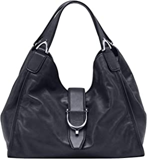 Gucci Stirrup Black Washed Soft Calf Leather Medium 100 Hobo Handbag
