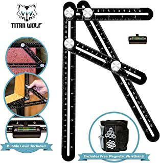 Premium Aluminum Laser Engraved Multi Angle Measuring Ruler Template Tool With Bubble Level And Bonus Magnetic Wristband Perfect For Any Project | Carpenters | Architects | DIYer's | Builders