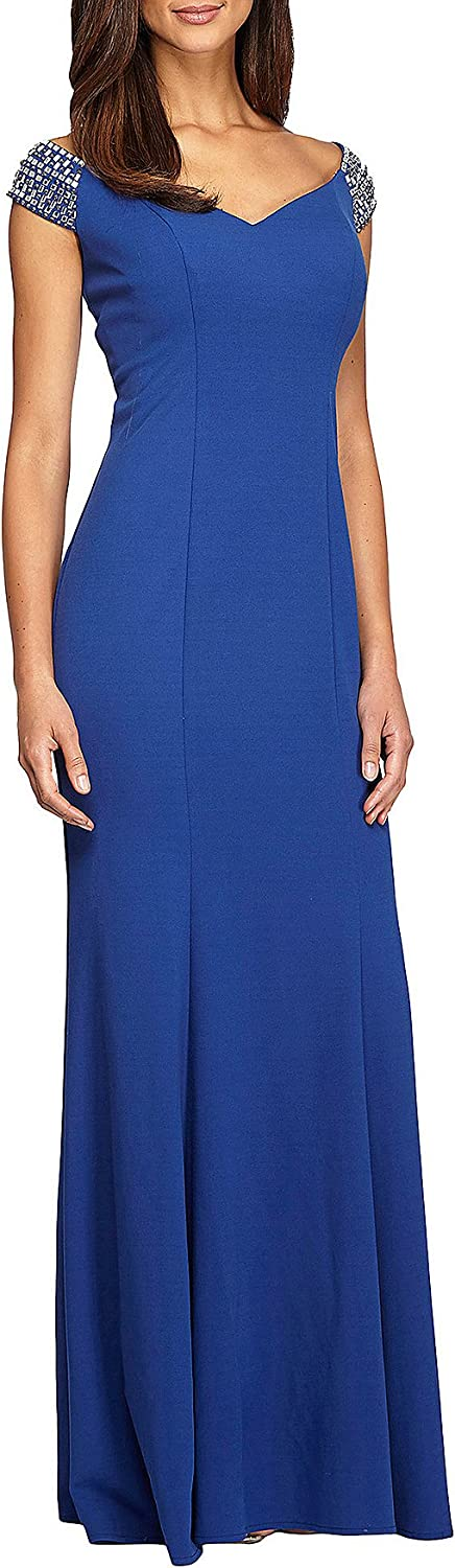 Alex Evenings Long Fit and Flare Off The Shoulder Jewel Detail Dress