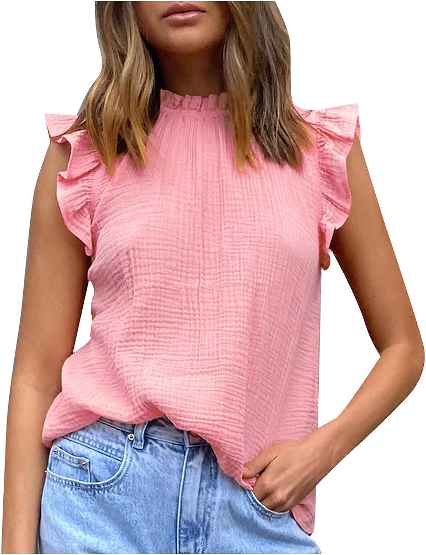 Wuztai Fashion Women O-Neck Vest Solid Sleeveless Ruffled T-Shirt