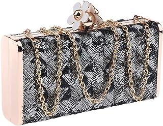 F Fityle Elegant Women Glitter Sequin Clutch Bag Purse Evening Party Bridal Prom Formal Handbag with Flower Buckle