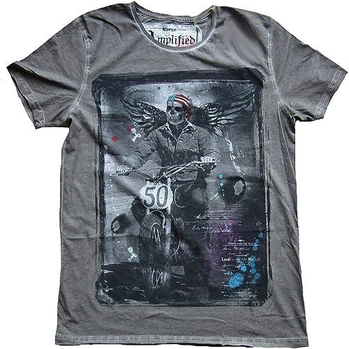 Amplified T-Shirt pour Homme gris Washed Biker Skull Style Gothique Ange états-Unis Star S and Stripes