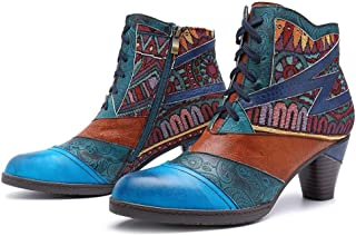 JoCome Ankle Bootie for Women | Embroidered Splicing Pattern Leather Boots | Vintage Block Zipper Ankle Bare Casual Booties Blue